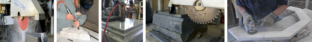 Architectural stone fabrication, stone cutting with industrial cutting tools, hand chisel and fine sanding
